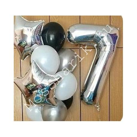 Композиция из шаров на 7 лет: цифра и фонтан со звездами (серебро)