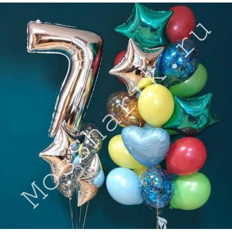 Шары на 7 лет: цифра с шарами и большой разноцветный фонтан