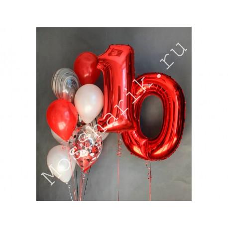 Композиция из шаров 10 лет: цифры и фонтан (красные и белые)