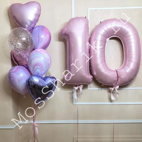 Композиция из шаров 10 лет девочке: цифры и фонтан с агатами