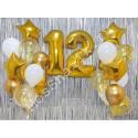 Композиция из шаров на 12 лет: цифры и два фонтана (золото и белый)