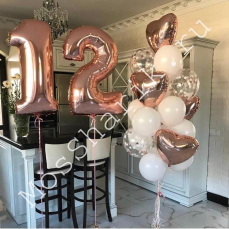 Композиция из шаров на 12 лет: цифры и фонтан с сердцами