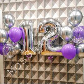 Шары на 12 лет девочке: цифры и два фонтана (серебро и фиолетовый)