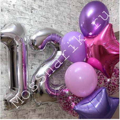 Шары на день рождения девочке 12 лет: цифры и фонтан со звездами