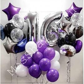 Композиция из шаров на 16 лет (фиолетовый, белый, черный и серебро)