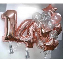 Композиция из шаров на 14 лет (розовое золото и серебро)