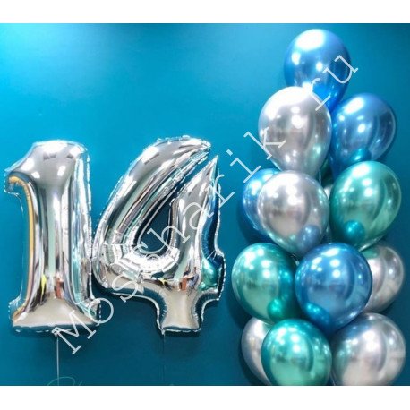Композиция на 14 лет: цифры и фонтан шариков хром