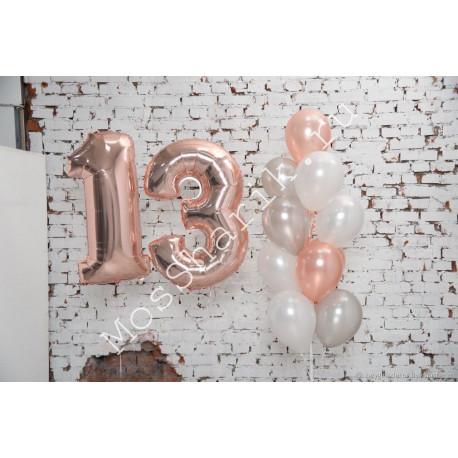 Композиция из шаров на 13 лет: цифры и фонтан