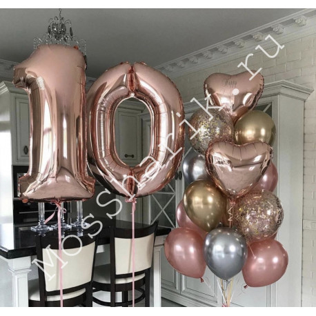 Композиция из шариков на 10 лет (розовое золото)