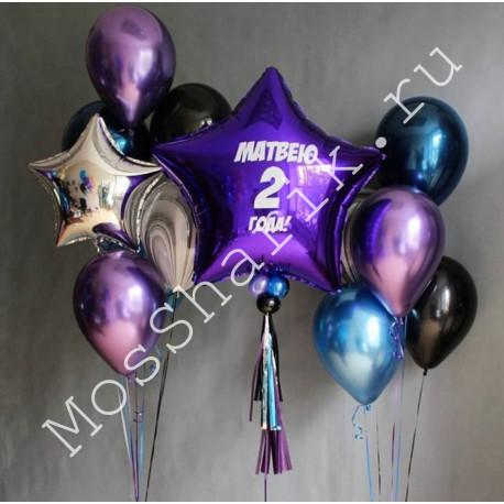 Композиция из шариков на 2 года: звезда с надписью и два фонтана
