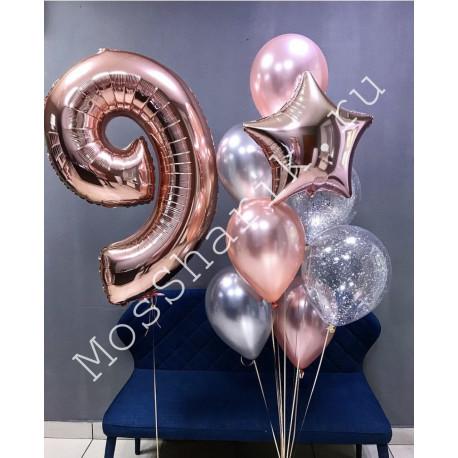 Композиция из шаров на 9 лет: цифра и фонтан (розовое золото и серебро)