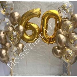 Композиция из шаров 60 лет (золото)