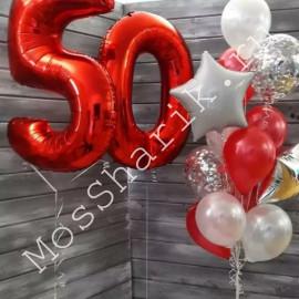 Композиция шаров на 50 лет: цифры и фонтан