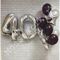 Шары на 40 лет: цифры и фонтан (серебро и черный)