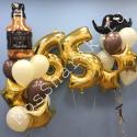 Шары на 65 лет мужчине: цифры и два фонтана с виски и усами