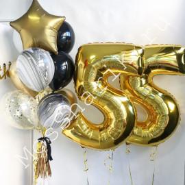 Композиция из шаров на 55 лет: цифры и фонтан