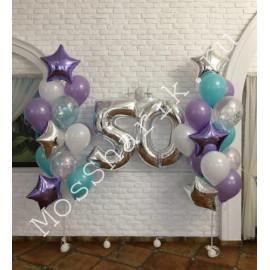 Композиция шаров на день рождения 50 лет: цифры и два фонтана