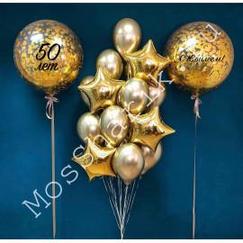Композиция шаров на 50 лет: два огромных шара и фонтан