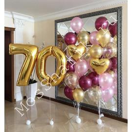 Композиция из шаров на 70 лет: цифры и два фонтана