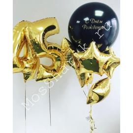 Композиция из шаров на 45 лет: цифры, огромный шар и звезды