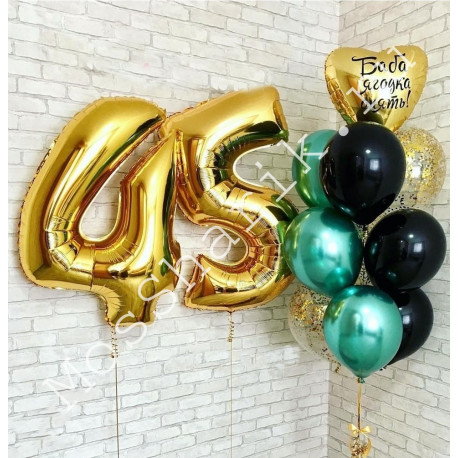 Композиция из шаров на 45 лет: цифры и фонтан с сердцем
