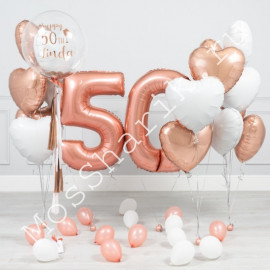 Шары на 50 лет женщине: цифры, сердца и шар баблс