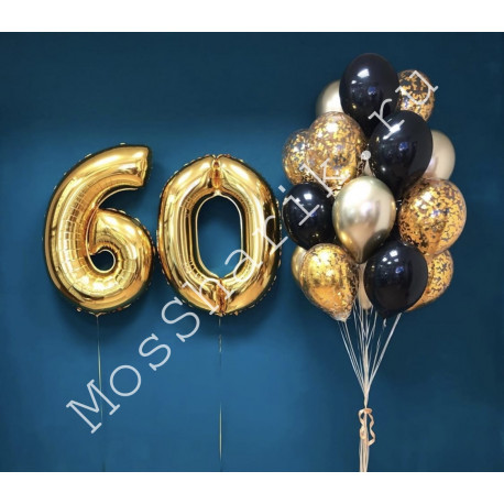 Композиция из шаров на 60 лет: цифры и фонтан (золото и черный)