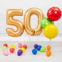 Композиция из воздушных шаров на 50 лет: цифры и круги