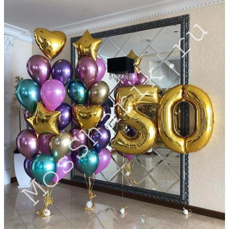 Композиция шаров на 50 лет: цифры и два больших фонтана