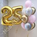 Композиция из шаров на 25 лет: цифры и фонтан