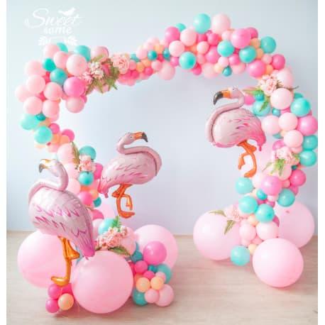 Гирлянда из разнокалиберных шаров (розовый)