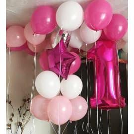 Фонтан из шаров, цифра и 10 шариков