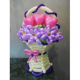 Корзина из шариков с цветами (С сердечками)
