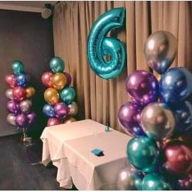 Оформление на 6 лет дня рождения шариками хром