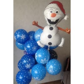 "Гелиевые шары ""Снеговик и снежинки"""