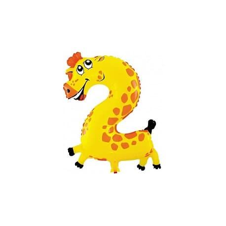 """Шарик """"Цифра 2"""" (Жираф)"""