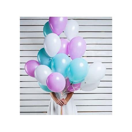 Воздушные шарики облако (белый, сиреневый, бирюза)