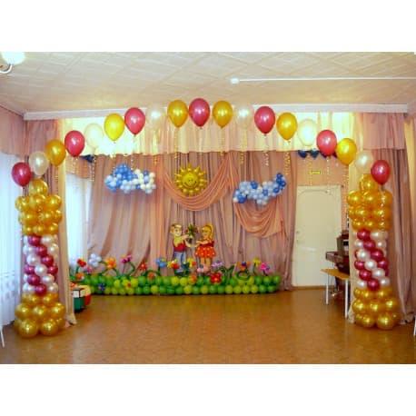 Выпускной в детском саду украшение зала шарами