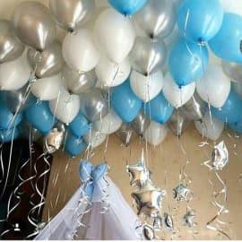 Гелиевые шарики под потолок (белый, серебро, голубой)