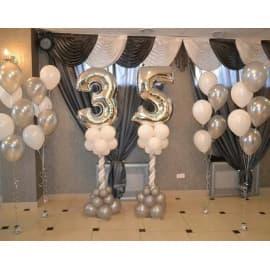 Оформление ресторана шарами на юбилей 35 лет