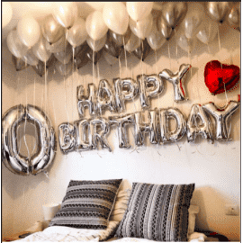 "Надпись серебряными шарами ""Happy birthday"""