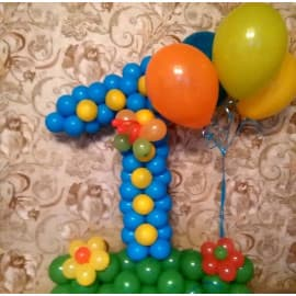 """Цифра """"1"""" шариками с цветочками"""