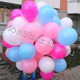 Облако шаров под потолок, цвета: голубой, розовый, белый, фуксия