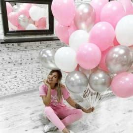 Облако из шариков под потолок, цвета: белый, розовый, серебро