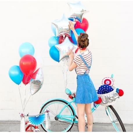Набор шариков, цвета: голубой, красный, серебро
