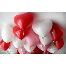 """Шарики """"Сердечки"""" (цвета: белый, красный, розовый)"""
