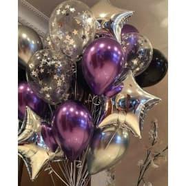 Связка шаров звездочки (цвет: хром)