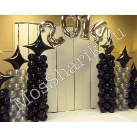 Фотозона из шариков на выпускной цвета чёрный и серебро