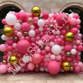 Панно из разнокалиберных шаров (розовый+золото+белый)
