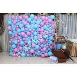 Панно из разнокалиберных шариков (сиреневый+голубой)